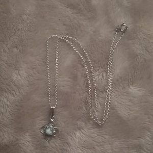Little girl necklace silver w/ blue stone